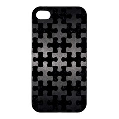 Puzzle1 Black Marble & Gray Metal 1 Apple Iphone 4/4s Hardshell Case