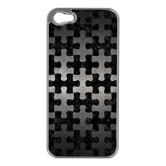 Puzzle1 Black Marble & Gray Metal 1 Apple Iphone 5 Case (silver)
