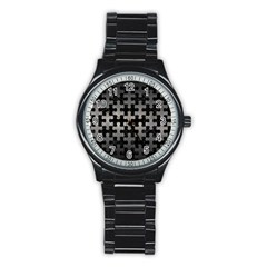 Puzzle1 Black Marble & Gray Metal 1 Stainless Steel Round Watch