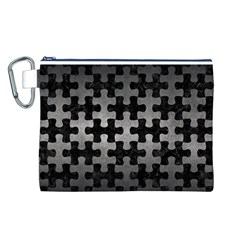 Puzzle1 Black Marble & Gray Metal 1 Canvas Cosmetic Bag (l)