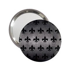 Royal1 Black Marble & Gray Metal 1 2 25  Handbag Mirrors