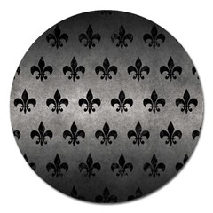 Royal1 Black Marble & Gray Metal 1 Magnet 5  (round)