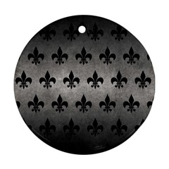 Royal1 Black Marble & Gray Metal 1 Round Ornament (two Sides)