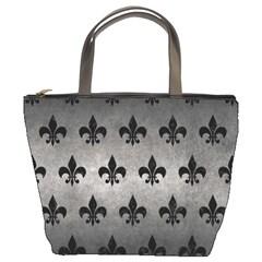 Royal1 Black Marble & Gray Metal 1 Bucket Bags