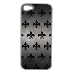 Royal1 Black Marble & Gray Metal 1 Apple Iphone 5 Case (silver)