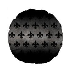 Royal1 Black Marble & Gray Metal 1 Standard 15  Premium Flano Round Cushions
