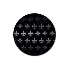 Royal1 Black Marble & Gray Metal 1 (r) Rubber Coaster (round)