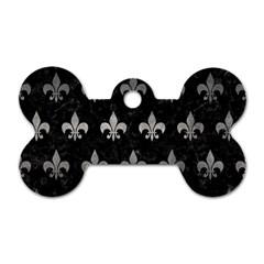 Royal1 Black Marble & Gray Metal 1 (r) Dog Tag Bone (two Sides)
