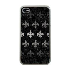 Royal1 Black Marble & Gray Metal 1 (r) Apple Iphone 4 Case (clear)
