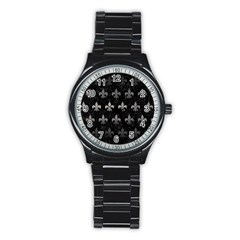 Royal1 Black Marble & Gray Metal 1 (r) Stainless Steel Round Watch