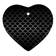 Scales1 Black Marble & Gray Metal 1 Ornament (heart)