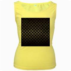 Scales1 Black Marble & Gray Metal 1 Women s Yellow Tank Top
