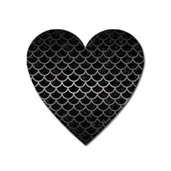 Scales1 Black Marble & Gray Metal 1 Heart Magnet
