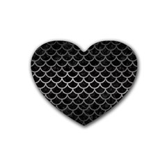 Scales1 Black Marble & Gray Metal 1 Heart Coaster (4 Pack)