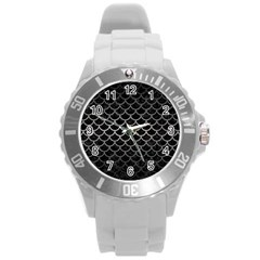 Scales1 Black Marble & Gray Metal 1 Round Plastic Sport Watch (l)