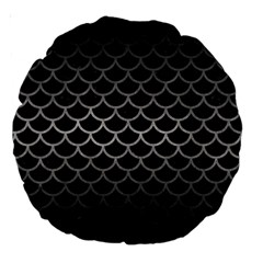 Scales1 Black Marble & Gray Metal 1 Large 18  Premium Round Cushions
