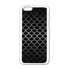 Scales1 Black Marble & Gray Metal 1 Apple Iphone 6/6s White Enamel Case