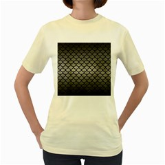 Scales1 Black Marble & Gray Metal 1 (r) Women s Yellow T Shirt