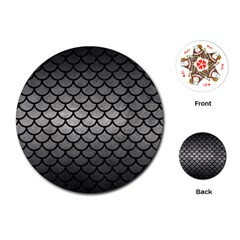 Scales1 Black Marble & Gray Metal 1 (r) Playing Cards (round)