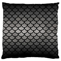 Scales1 Black Marble & Gray Metal 1 (r) Large Cushion Case (one Side)