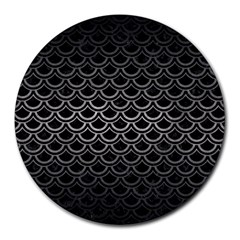 Scales2 Black Marble & Gray Metal 1 Round Mousepads