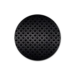 Scales2 Black Marble & Gray Metal 1 Rubber Coaster (round)