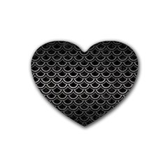 Scales2 Black Marble & Gray Metal 1 Rubber Coaster (heart)