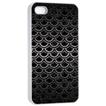 SCALES2 BLACK MARBLE & GRAY METAL 1 Apple iPhone 4/4s Seamless Case (White) Front