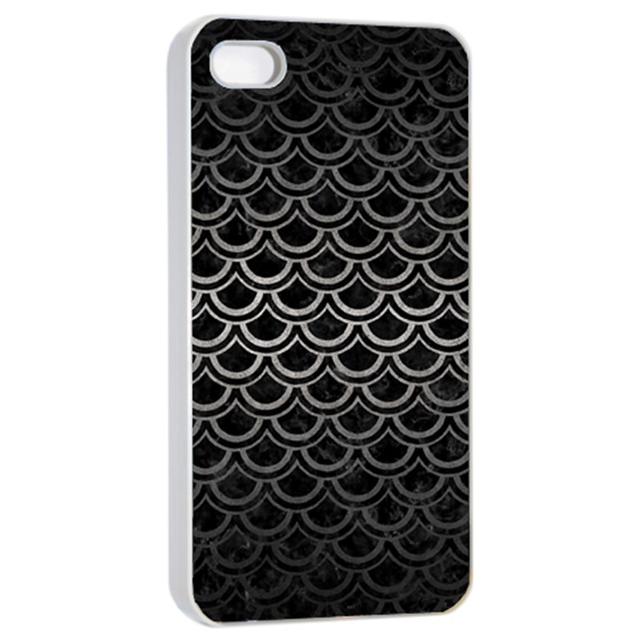 SCALES2 BLACK MARBLE & GRAY METAL 1 Apple iPhone 4/4s Seamless Case (White)