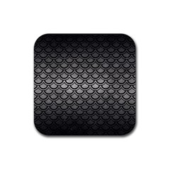 Scales2 Black Marble & Gray Metal 1 (r) Rubber Coaster (square)