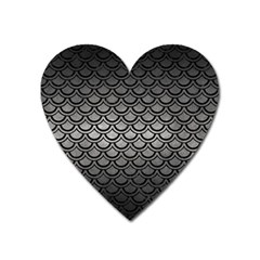 Scales2 Black Marble & Gray Metal 1 (r) Heart Magnet