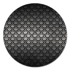 Scales2 Black Marble & Gray Metal 1 (r) Magnet 5  (round)