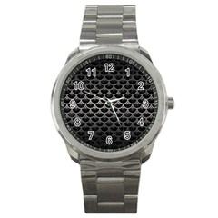 Scales3 Black Marble & Gray Metal 1 Sport Metal Watch