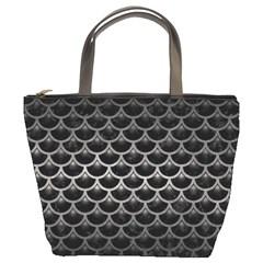 Scales3 Black Marble & Gray Metal 1 Bucket Bags