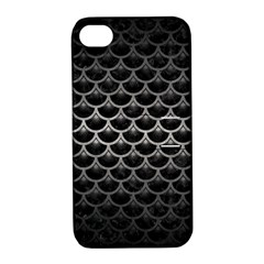 Scales3 Black Marble & Gray Metal 1 Apple Iphone 4/4s Hardshell Case With Stand