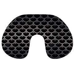 Scales3 Black Marble & Gray Metal 1 Travel Neck Pillows