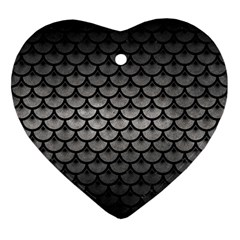 Scales3 Black Marble & Gray Metal 1 (r) Ornament (heart)