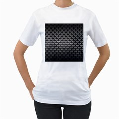 Scales3 Black Marble & Gray Metal 1 (r) Women s T Shirt (white) (two Sided)