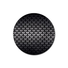 Scales3 Black Marble & Gray Metal 1 (r) Rubber Coaster (round)