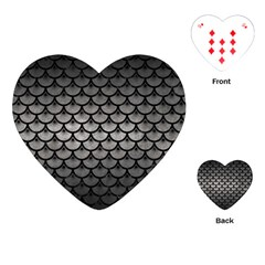 Scales3 Black Marble & Gray Metal 1 (r) Playing Cards (heart)