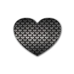 Scales3 Black Marble & Gray Metal 1 (r) Heart Coaster (4 Pack)