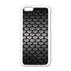 Scales3 Black Marble & Gray Metal 1 (r) Apple Iphone 6/6s White Enamel Case