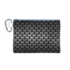 Scales3 Black Marble & Gray Metal 1 (r) Canvas Cosmetic Bag (m)
