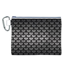 Scales3 Black Marble & Gray Metal 1 (r) Canvas Cosmetic Bag (l)