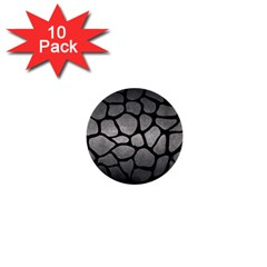 Skin1 Black Marble & Gray Metal 1 1  Mini Buttons (10 Pack)