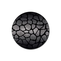 Skin1 Black Marble & Gray Metal 1 Rubber Round Coaster (4 Pack)