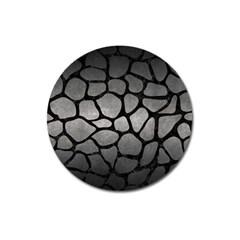 Skin1 Black Marble & Gray Metal 1 Magnet 3  (round)