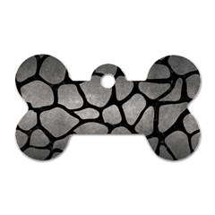 Skin1 Black Marble & Gray Metal 1 Dog Tag Bone (one Side)