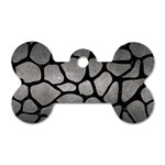 SKIN1 BLACK MARBLE & GRAY METAL 1 Dog Tag Bone (One Side) Front