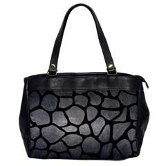 Skin1 Black Marble & Gray Metal 1 Office Handbags